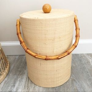 Vintage MCM Faux Bamboo Cocktail Cart Ice Bucket